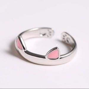 Pink Silver Cat Ears Ring